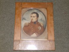 """A colour print depicting Napoleon, in Arts & Crafts copper frame, 20"""" x 15"""" overall."""