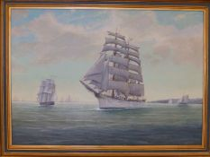 """John Henry Willis - oil on board - Tall ships leaving Torbay, signed & dated 1956, 19.5"""" x 27.5""""."""