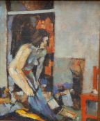 """Neil Davies - oil on board - 'Woman Dressing', signed, dated 1991 to verso, 8.5"""" x 7""""."""