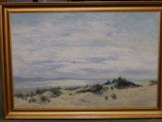 "Daniel Sherrin (1869-1940) - oil on canvas - Beach scene with dunes, signed, 23"" x 35""."