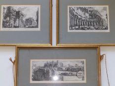 Three small Piranesi black & white architectural prints - 'Foro di Trajano', 'Foro di Nerva' and '