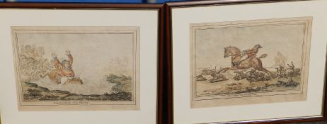 A set of four humorous coloured hunting print caricatures published by Humphreys of London - 'Hounds