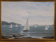 """John Henry Willis - oil on board - Sailing in Torbay, signed & dated 1960, 19.5"""" x 27.5""""."""