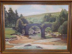 "John Henry Willis - oil on board - Huccaby Bridge, Dartmoor, 19.5"" x 27.5""."
