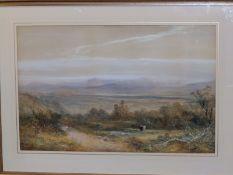 """William Widgery (1822-1893) - watercolour - Extensive landscape, signed, 18"""" x 28""""."""