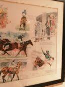 "David Dent (born 1959) - watercolour - Vodaphone Derby, Epsom 2000, 29"" x 38""."