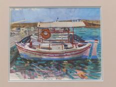 Jenny Wheatley RWS, NEAC (born 1959) - watercolour - A small ferry boat - 'Mapia AX', signed in