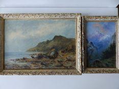 "Samuel John Barnes (1847-1901) - two oils on board - Coastal scene, 9.5"" x 13"" and Mountain scene,"
