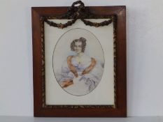 """Francois Rochard - a small oval watercolour portrait of a young lady with fur stole, 7.25"""" high,"""