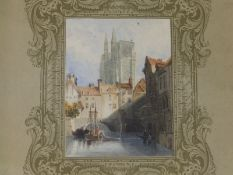 T. S. Minchens (?) - a small 19thC watercolour depicting a river scene with Cathedral behind, 3.