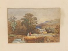 """19thC British School - Two figures by a millstream, 8"""" x 11""""."""