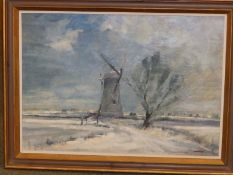 """Marcus Ford (1914-1989) - oil on canvas - Landscape with windmill, signed, 22"""" x 31""""."""