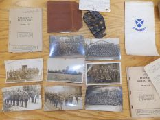 Eight WWI photographic postcards depicting army units, three WWII army release books and a piece