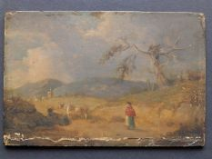 After Corot - a small oil on panel - a woman and cattle in landscape, a tree above to right and