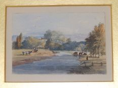 Early 19thC British School - a small watercolour - Cattle by a river with distant buildings,