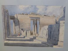 """George Davy - watercolour - 'Parthenon', signed & dated 1962, 14.5"""" x 20""""."""