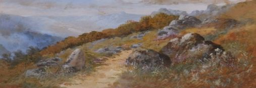 """William Widgery (1822-1893) - watercolour - Wistman's Wood, signed, 10"""" x 28.5"""" - some foxing."""