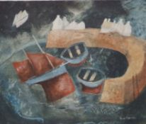 """Hazel Brown - mixed media on board - 'Tide Turning', signed, 10"""" x 12""""."""