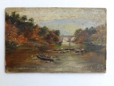 R (?) Wilkins - small 19thC oil on board - 'The Old Weir Bridge, Killarney', signed & inscribed, 3.