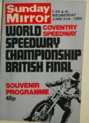 SPEEDWAY - 1982 WORLD CHAMPIONSHIP BRITISH FINAL AT COVENTRY PROGRAMME & TICKET