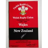 RUGBY UNION - 1980 WALES V NEW ZEALAND PROGRAMME + TICKET