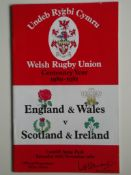RUGBY UNION - 1980 WALES & ENGLAND V SCOTLAND & IRELAND PROGRAMME + TICKET