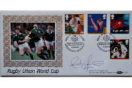1991 RUGBY UNION WORLD CUP POSTAL COVER AUTOGRAPHED BY ANDY IRVINE