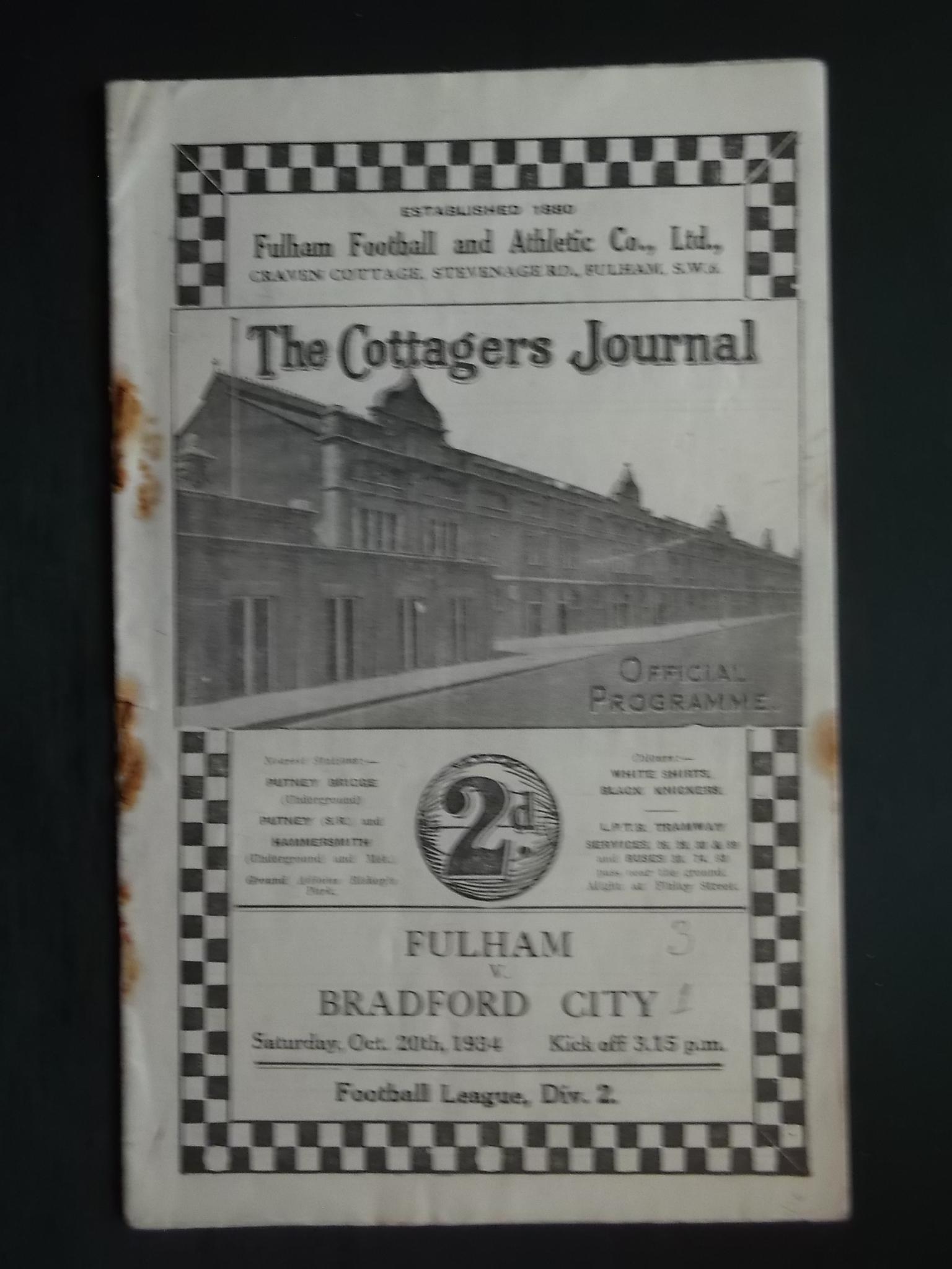 Lot 10 - 1934-35 FULHAM V BRADFORD CITY