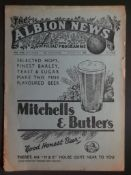 1938-39 WEST BROMWICH ALBION RESERVES V SHEFFIELD WEDNESDAY RESERVES