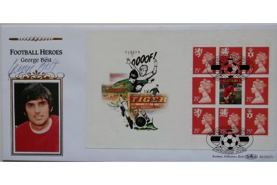 FOOTBALL HEROES LIMITED EDITION POSTAL COVER AUTOGRAPHED BY GEORGE BEST - MANCHESTER UNITED