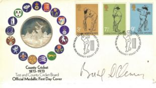 CRICKET - 1873 - 1973 OFFICIAL MEDALLIC FDC SIGNED BY BASIL D'OLIVEIRA