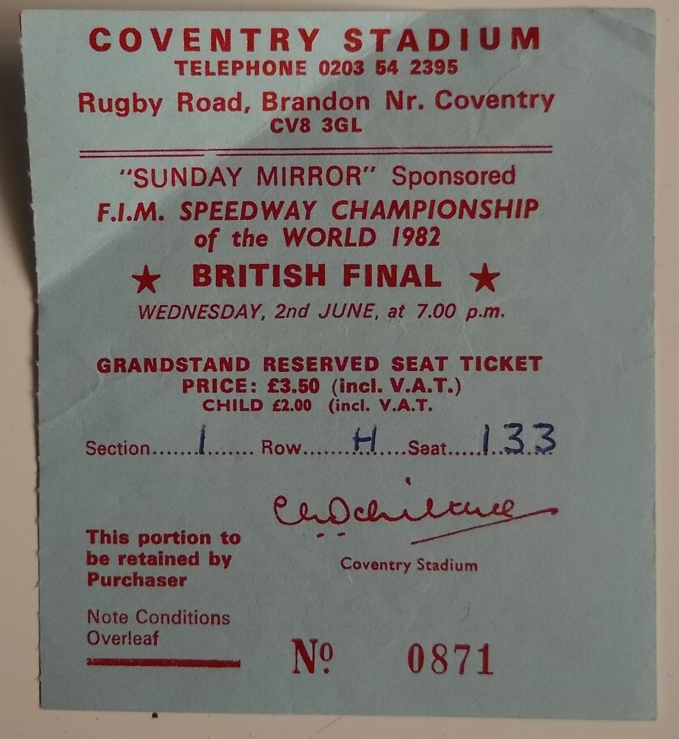 SPEEDWAY - 1982 WORLD CHAMPIONSHIP BRITISH FINAL AT COVENTRY PROGRAMME & TICKET - Image 2 of 2