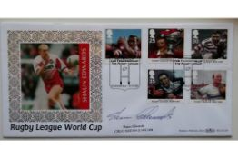 1995 RUGBY LEAGUE WORLD CUP LIMITED EDITION POSTAL COVER AUTOGRAPHED BY SHAUN EDWARDS