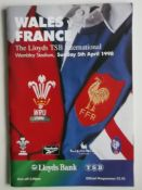 RUGBY UNION - 1998 WALES V FRANCE PROGRAMME + TICKET
