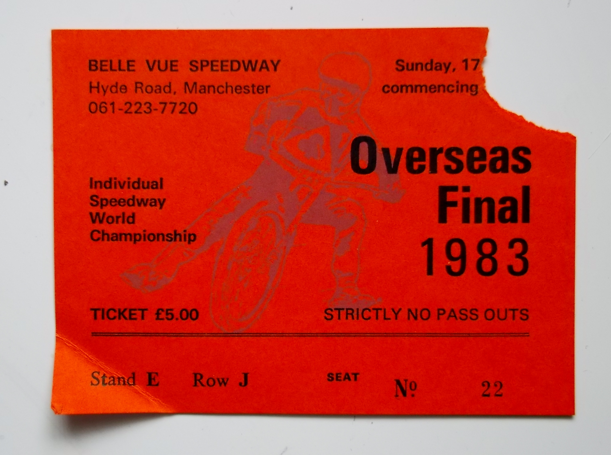 SPEEDWAY - 1983 OVERSEAS FINAL WORLD CHAMPIONSHIP AT BELLE VUE - PROGRAMME & TICKET - Image 2 of 2