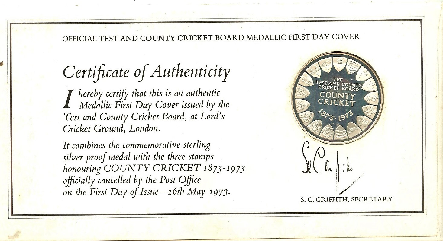 Lot 9 - CRICKET - 1873 - 1973 OFFICIAL MEDALLIC FDC SIGNED BY BASIL D'OLIVEIRA