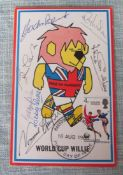 1966 WORLD CUP WILLIE MULTI SIGNED OFFICIAL POSTCARD