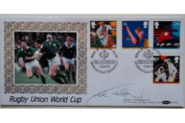 1991 RUGBY UNION WORLD CUP POSTAL COVER AUTOGRAPHED BY JOHN JEFFREY