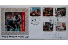 1995 RUGBY LEAGUE WORLD CUP LIMITED EDITION POSTAL COVER AUTOGRAPHED BY MARTIN OFFIAH