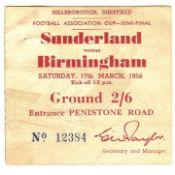 1956 F.A. CUP S/F SUNDERLAND V BIRMINGHAM CITY TICKET