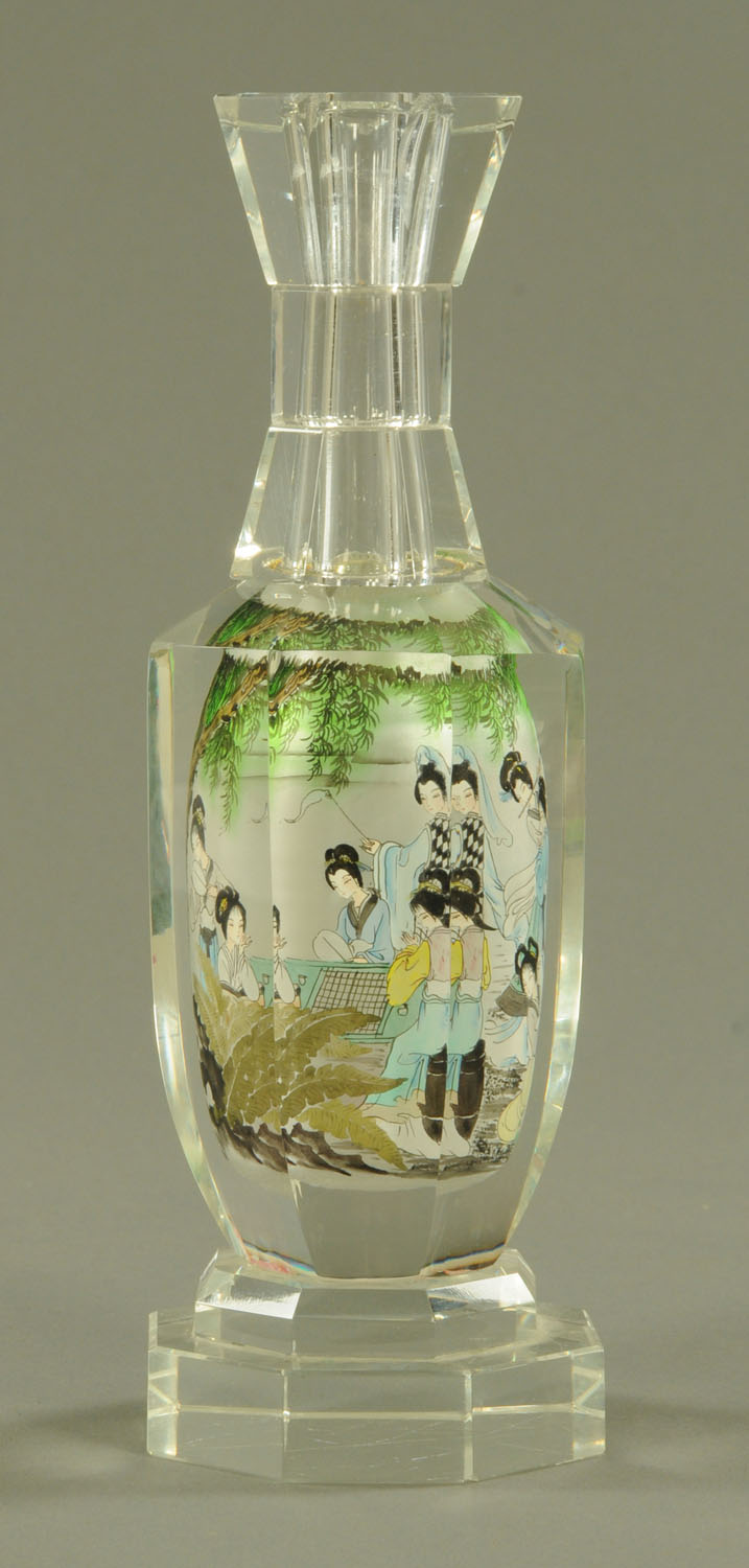 Lot 49 - A Chinese interior painted glass bottle, 20th century, of hexagonal form, with waisted neck,