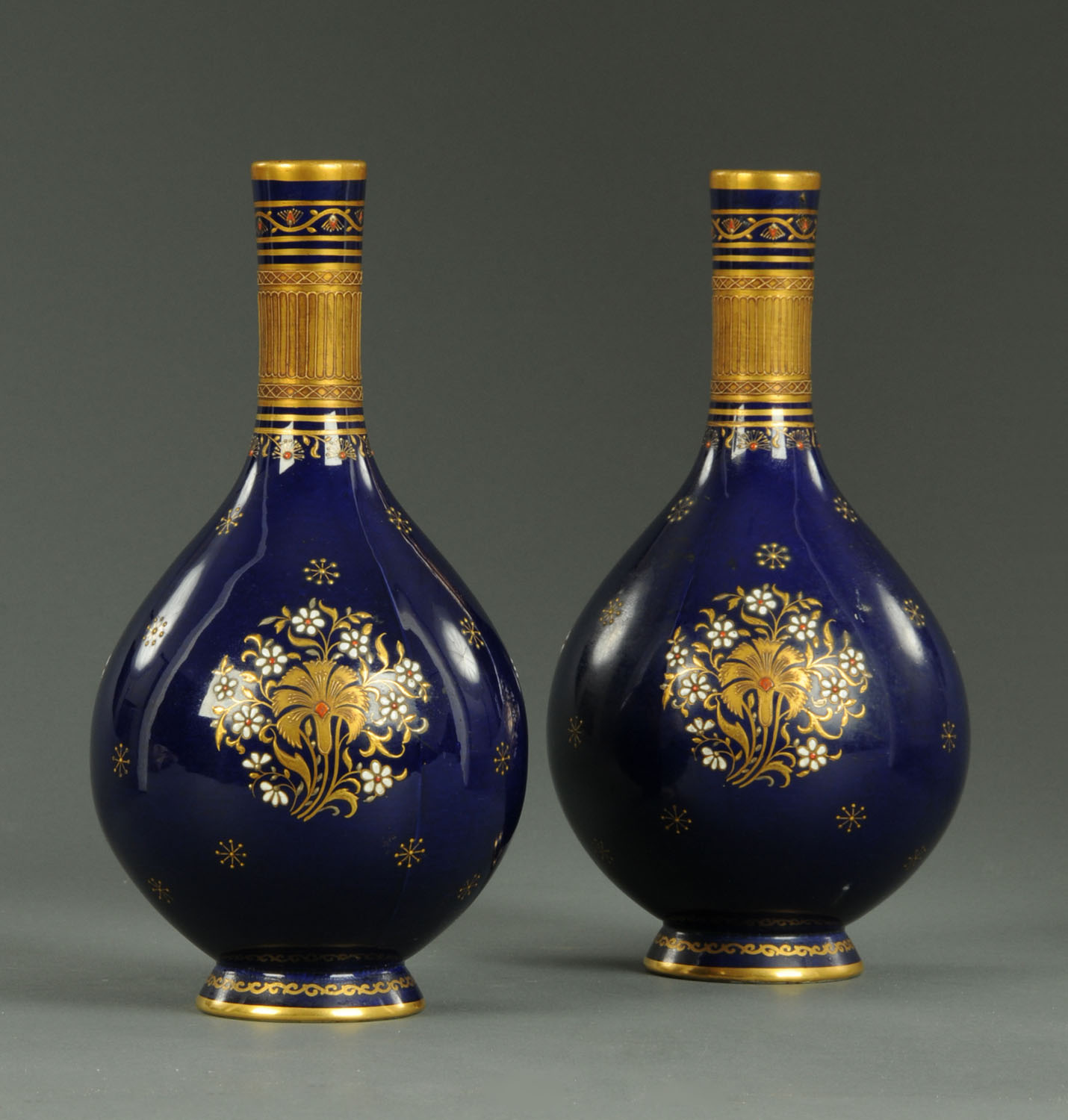 Lot 4 - A pair of Victorian Minton vases, club shaped,