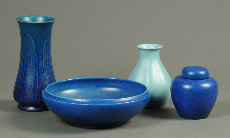 Lot 36 - A Royal Lancastrian blue bowl, vase, ginger jar and pale blue vase. Bowl diameter 26.