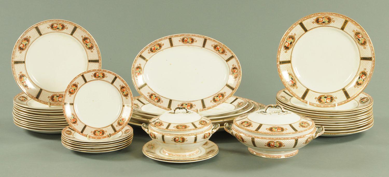Lot 55 - A Forester & Sons Burslem dinner service, comprising twelve 27 cm plates, twelve 24 cm plates,