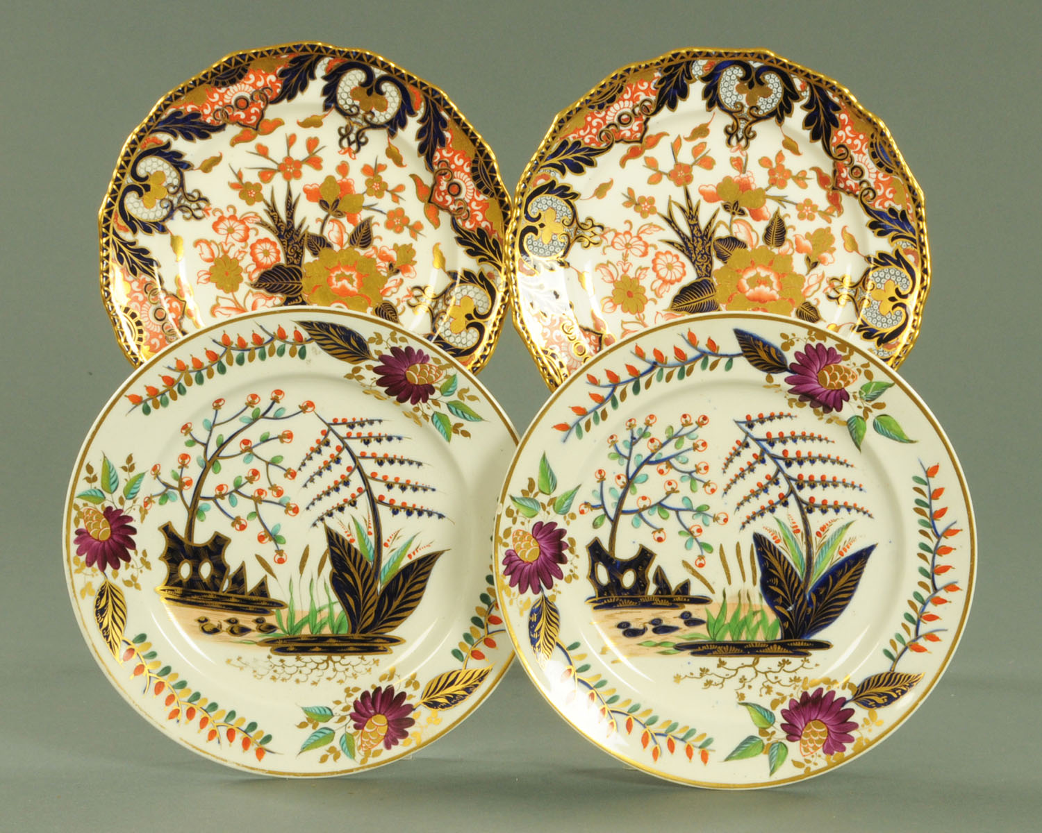 Lot 1 - Two pairs of Derby porcelain Imari plates, Kings Street and early Osmaston marks.