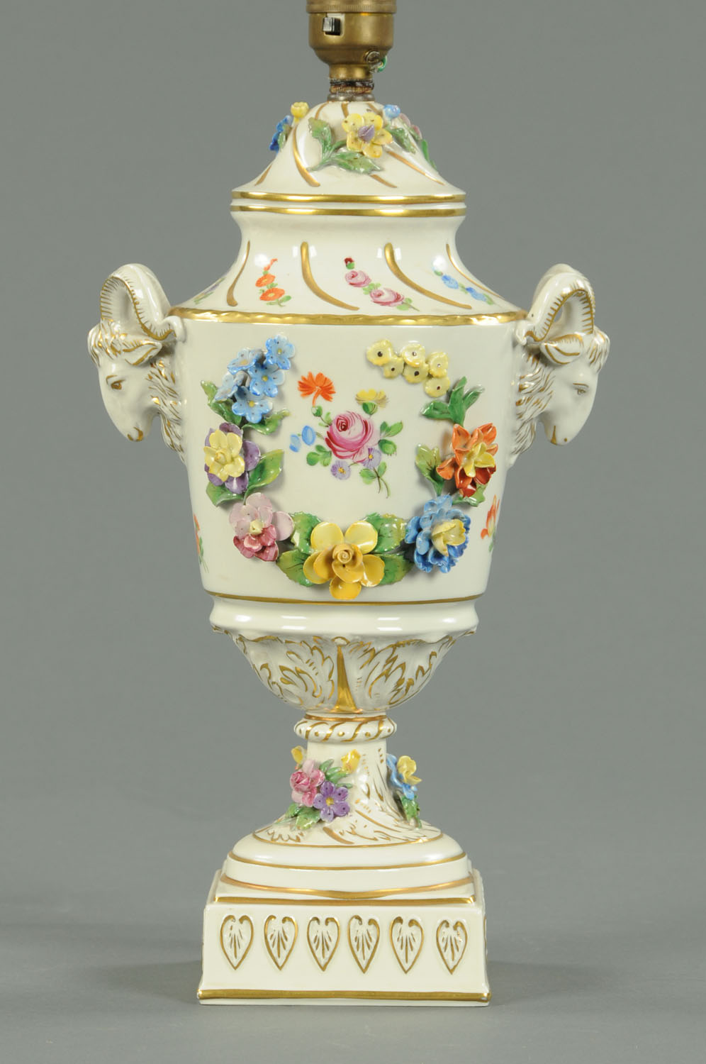 Lot 30 - A Dresden porcelain lamp base, with floral encrustations,