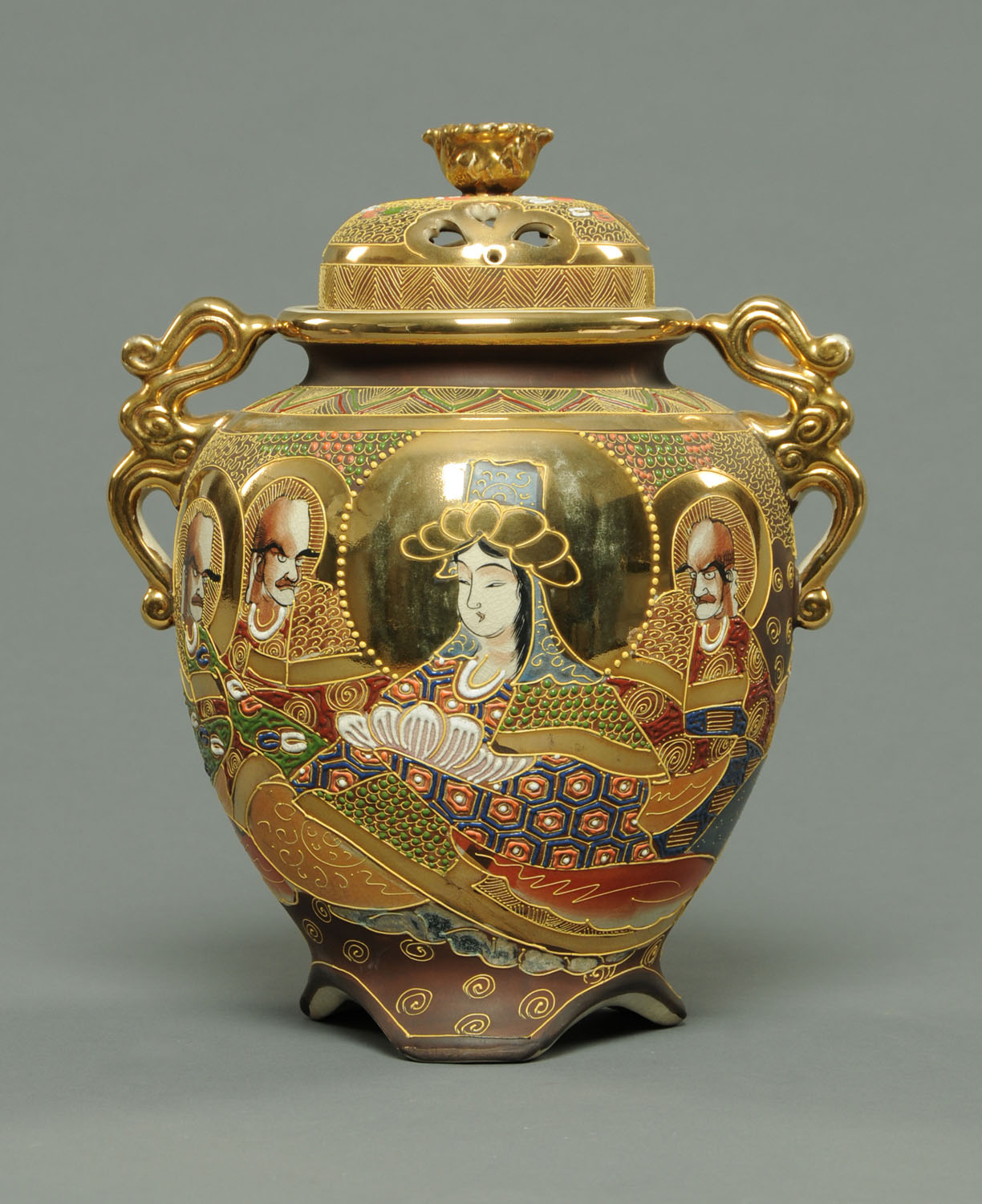 Lot 5 - A Satsuma Koro, mid 20th century, decorated with figures and overpainted in slight relief,