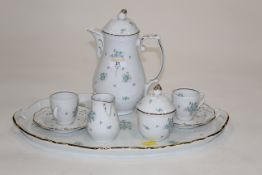 Schumann floral coffeeware - coffee pot, 2 cups with saucers, milk jug,