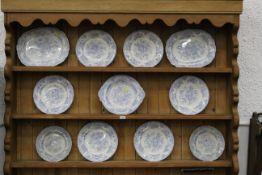 Eleven pieces of Asiatic Pheasant pattern tableware