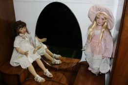 Two porcelain collectors dolls - Zapf Creation Maidie 80 cm and Alberon Chloe, height 66 cm.